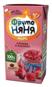 Морс клюква и малина ФрутоНяня Снежная сказка, 200 мл., тетра-пак