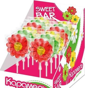 Фруктовая карамель Sweet Bar на палочке в форме маргаритки