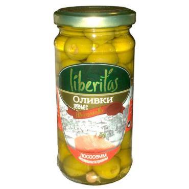 Оливки зеленые Liberitas с лососем, 240 гр, стекло