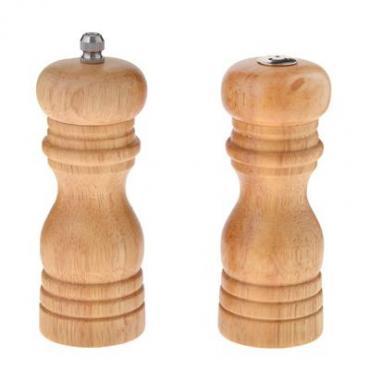 Набор для специй, 2 предмета, мельница 14 см., солонка 13 см., дерево, Vetta, пластиковая упаковка