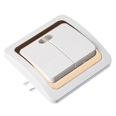 904-054 FORZA Золотая коллекция Выключатель двухкл, с подсветкой, цв б