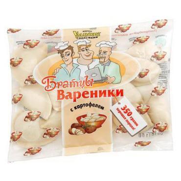 Вареники Братцы Вареники с картофелем, 350 гр., флоу-пак