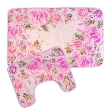 Набор ковриков для ванны и туалета Доляна Розы 40х50 см., 50х80 см. розовый 2 шт.
