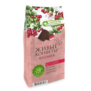 Мармелад суфле Лакомства для здоровья Живые конфеты с брусникой в горьком шоколаде
