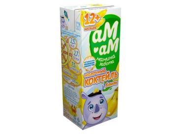 Коктейль молочный Банан 2,5% Ам-Ам 200 мл., Тетра-пак