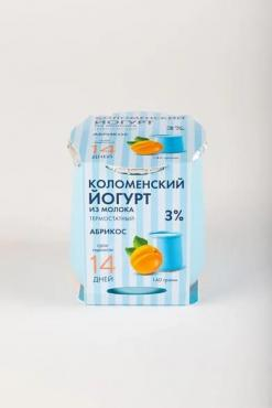 Йогурт из молока мдж 3% абрикос, Коломенское, 140 гр, ПЭТ