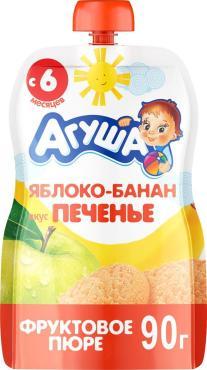 Пюре яблоко, банан, печенье с 6мес., Агуша, 90 гр., дой-пак с дозатором
