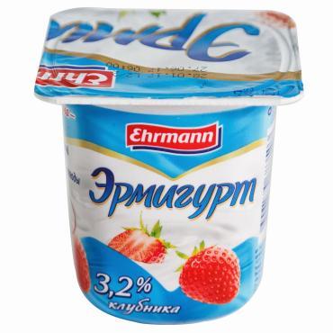 Йогуртный продукт Ehrmann Эрмигурт 3,2% Клубника
