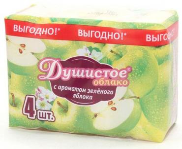 Мыло туалетное с ароматом зеленого яблока 4 шт., Душистое Облако, 280 гр., пластиковый пакет