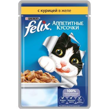 Корм влажный для кошек аппетитные кусочки с курицей в желе Felix 85 гр. Дой-пак