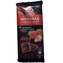 Шоколад Fine Life молочный с клубничной начинкой  90 гр.