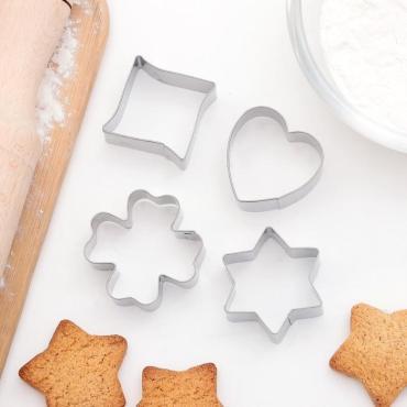 Набор форм для вырезания печенья Доляна Сердце звезда клевер 8х8 см. 4 шт.