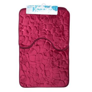 Набор ковриков для ванны и туалета Доляна Галька ракушки 40х50см., 50х80 см. бордовый 2 шт.