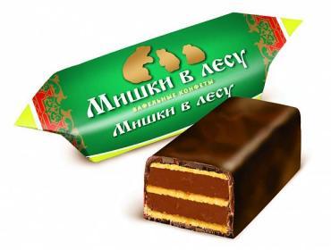 Конфеты Победа Вкуса Мишки в лесу вафельные с шоколадной начинкой