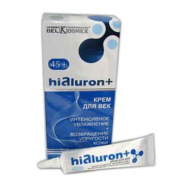 Крем для век BelKosmex Hialuron+ интенсивное увлажнение и возвращение упругости кожи 45+