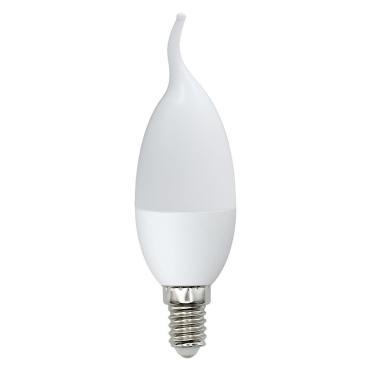 Лампа светодиодная форма свеча на ветру, матовая, серия Norma, белый свет 4000K, LED-CW37-7W/NW/E14/FR/NR, Volpe, 41 гр., картонная коробка