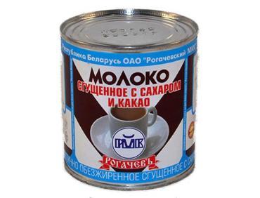 Сгущенное молоко  С сахаром и какао 7,5%, Рогачевъ, 380 гр., жестяная банка