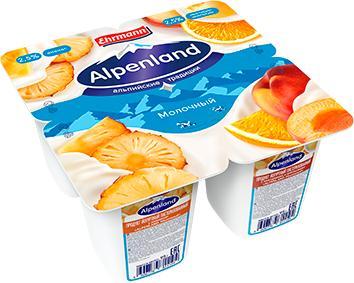 Продукт йогуртный пастеризованный 2,5% Alpenland Ананас/Нектарин-Апельсин, 4 шт., 95 гр., пластиковый стакан