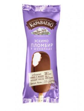 Эскимо пломбир в шоколаде Караваево, 65 гр., флоу-пак
