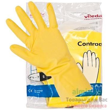 Перчатки хозяйственные S латекс желтый Vile a Contract, пластиковый пакет