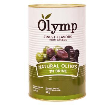 Оливки зеленые без косточки в рассоле Olymp, жест.банка, 2 кг