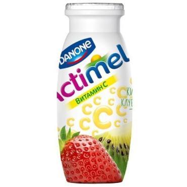 Продукт кисломолочный киви-клубника 2,5%, Аctimel, 100 гр., пластиковая бутылка
