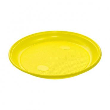 Тарелка d=205 мм., жёлтая, ПС., 100 шт/уп., 2000 шт/кор., Прома, пластиковый пакет