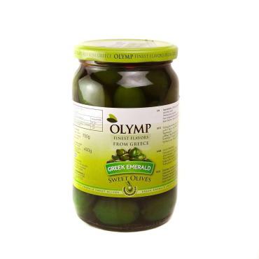 Оливки изумрудные Olymp сорт Халкидики, 400 гр., стекло