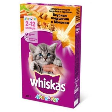 Корм Whiskas сухой для котят 1-12месяцев Вкусные подушечки Ассорти с индейкой и морковью