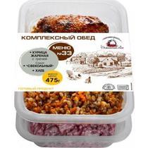 Комплексный обед Домашний очаг Меню №33 Курица жареная с гречей Салат свекольный Хлеб
