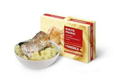 Готовое блюдо Главобед Филе рыбы жареное с картофельным пюре