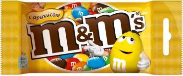 Драже M&M`s с арахисом и молочным шоколадом