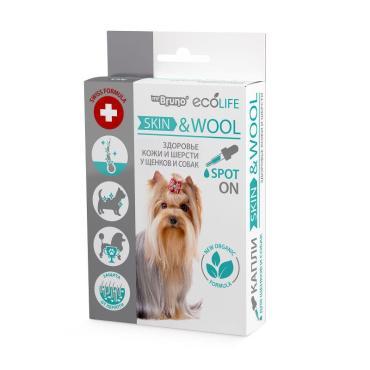Капли для щенков и собак Mr.Bruno Ecolife Skin & Wool для здоровья кожи и шерсти