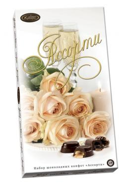 Набор конфет шоколадных Кутюрье Ассорти Кремовые розы, 130 гр., картонная коробка