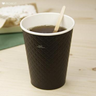 Бумажный стакан с конгревом, 360 мл (макс. 430 мл), двухсл., черный
