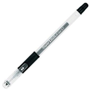 Ручка гелевая с грипом Paper Mate черная корпус прозрачный узел 1 мм линия письма 0,7 мм