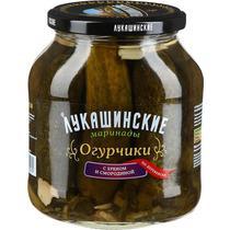 Огурчики с хреном и смородиной Лукашинские, 670 гр., стекло
