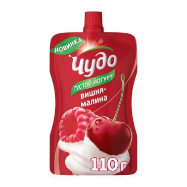 Йогурт Вишня-Малина фруктовый питьевой 2,6%, Чудо, 110 гр, дой-пак
