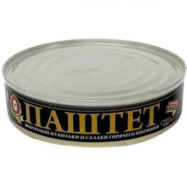 Паштет шпротный из кильки и салаки горячего копчения, Пролив, 160 гр., Жестяная банка
