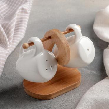 Набор для специй Доляна Баночки керамика белый 2 шт. солонка перечница