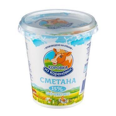 Сметана 15%, Коровка из Кореновки, 330 гр., стакан