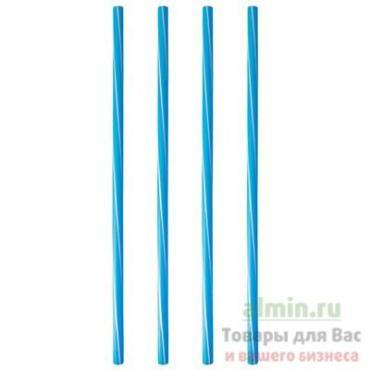 Соломка трубочка для коктейля Н250х 8 мм., 135 штук в упаковке, синяя с белой полосой, Papstar, пластиковый пакет
