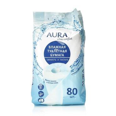 Туалетная бумага Aura Ultra Comfort Свежесть и Чистота Влажная 80 шт.