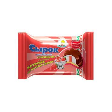 Сырок глазированный Молочная страна С печеньем и начинкой Клубника со сливками 20%