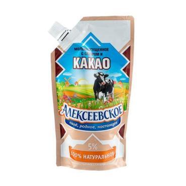 Молоко сгущенное с сахаром и какао 5%, Алексеевское, 270 гр., дой-пак