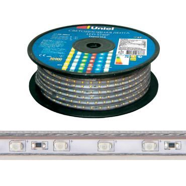 Светодиодная гибкая герметичная лента. Бобина 50 м. Желтый свет. ULS-2835-60LED/m-10mm-IP67-220V-8W/m-50M-YELLOW, Uniel, платиковый пакет