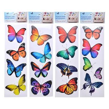 Наклейка 40*13 см., на листе 4 шт., Ladecor Красота бабочек, пластиковый пакет