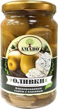 Оливки зеленые с сыром с плесенью, Армения, Amado, 350 гр., стекло