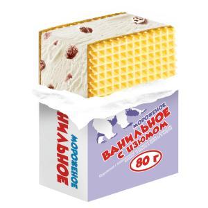 Мороженое брикет на вафлях ванильное 12 % с изюмом, ПОЛЯРИС, 80 гр., флоу-пак