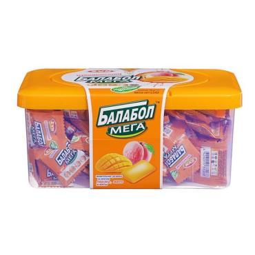 Жевательная резинка персик и манго, 180 шт., Тропический Балабол Мега, 540 гр., пластиковый контейнер